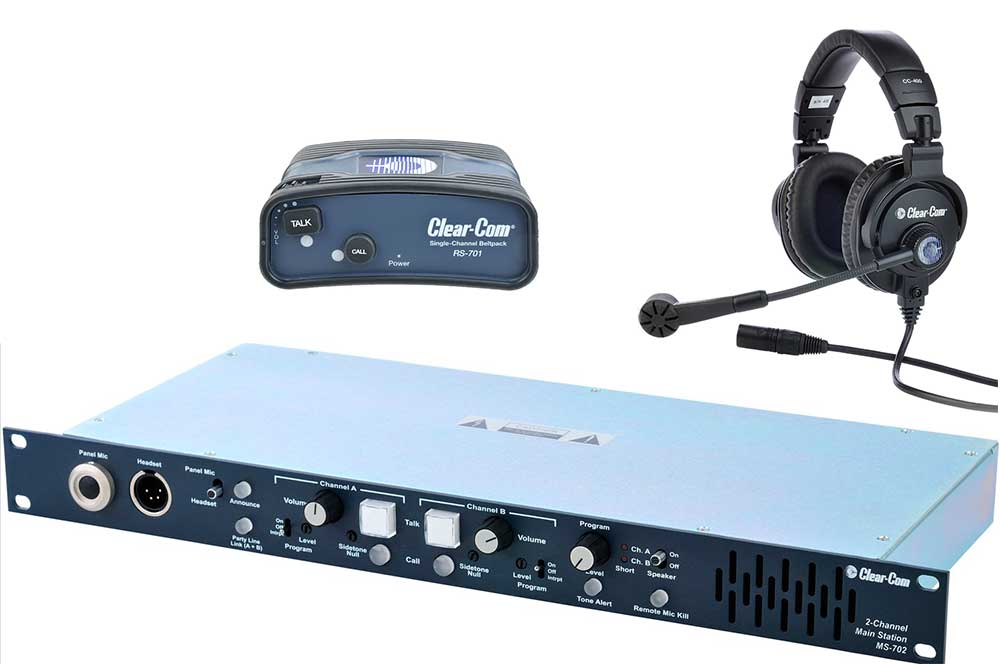 Clear-Com MS702 system with ClearCom RS-701 Single Channel Standard Beltpack and Clear-Com CC-400-X4 Double Ear Headset